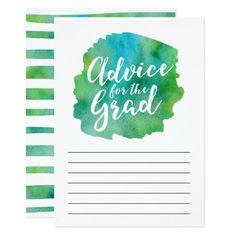Green Watercolor Advice for the Grad Card