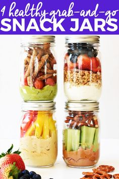4 Healthy Grab-and-Go Snack Jars Looking for a quick, healthy snack? Make these 4 healthy grab-and-go snack jars, so you have a nutritious meal ready when you& short on time. Vegan Healthy Snacks, Healthy Snacks For Kids, Easy Snacks, Healthy Drinks, Healthy Eating, Healthy Recipes, Clean Eating, Diet Snacks, Vegan Snacks On The Go