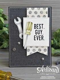 use hammer and spanner cut outs and appropriate papere for male Birthday