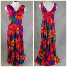 Vintage 60s Hawaiian Floral Diamond Head Maxi Dress Watteau Train M offered by  themagnoliacollection on ebay