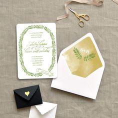 leafy greens watercolor wedding invite | Smitten on Paper