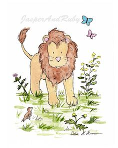 Lion Nursery Art, Baby Nursery Art, Jungle Art, Jungle Animal Art, Children's Wall Art, New Baby, Kid's Print, Kids Jungle Room, Kids Decor