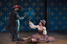 Jack Lafferty (left) as Rochefort, Luigi Sottile as D'Artagnan, and Melinda Parrett as Milady in the Utah Shakespeare Festival's 2016 production of The Three Musketeers. (Photo by Karl Hugh. Copyright Utah Shakespeare Festival 2016.) @utahshakespeare #3musketeers