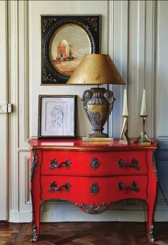signed by tina: Living Room  color pop I like the red furniture and the candles in particular.