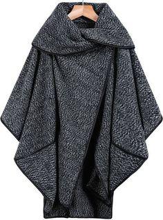 Black Lapel Long Sleeve Contrast Trims Loose Coat