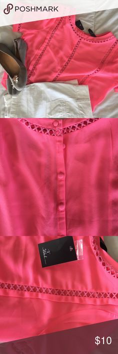 Neon pink Wish Collection sheer back button down Gorgeous summer color! Not a crop top but sits somewhat shorter (not belly showing). 100% polyester. New with tags. Backside  has buttons extending down the back. Not sure Is this is a jr but it would fit a small/Med. the wish collection Tops Tees - Short Sleeve