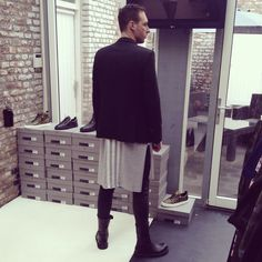 CLIENTS SHOPPING Y-3 AND RICK OWENS CLOTHES IN OUR STORE..