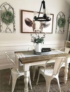 30 Wonderful Vintage Dining Table Design Ideas And Decor. If you are looking for Vintage Dining Table Design Ideas And Decor, You come to the right place. Below are the Vintage Dining Table Design Id. Farmhouse Dining Room Table, Dining Room Wall Decor, Dining Table Design, Farmhouse Kitchen Decor, Modern Farmhouse, Farmhouse Ideas, Target Farmhouse, Decor Room, Farm House Dinning Room
