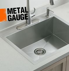 When shopping for a stainless steel sink, it's important to consider the metal gauge of the sink. The lower the gauge, the thicker the stainless steel is. A lower gauge sink means that the sink will be less prone to denting and bowing. Because the metal is thicker, it won't transmit noise as easily, so it won't make reverberate when items are dropped into it. A 16 or 18 gauge sink is ideal for the kitchen.