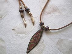 Unique Floral Pendant Suede Necklace, Wrap Necklace, Artisan Spear,  Kazuri African Beads, Gold Bronze, Tan, Rust, Green, Long necklace by bohosoulsister on Etsy