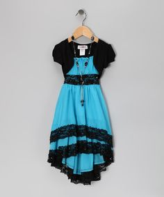 Take a look at the Turquoise & Black Lace Dress Set - Toddler & Girls on #zulily today!