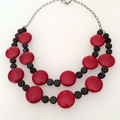 Red black multi strand necklace Red by BarbsBeadedJewelry on Etsy