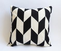As featured in LayBabyLay.com Blog - Black and White Pillow Cover - Herringbone - Cushion Cover - Geometric Pillow 16X16 inches