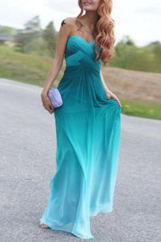 Chic Strapless Sleeveless Ombre Women's Maxi Dress