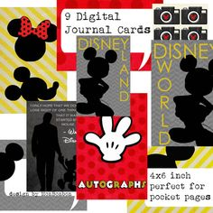 Nine Digital Disney Vacation Journal Cards - Perfect for Project Life and Pocket Page Inserts - DIY Printable - INSTANT DOWNLOAD