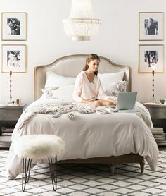 French antique-inspired bed. An elegant retreat for a cozy night's sleep.
