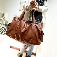 PU Leather Big Women Bags Solid Brown Yellow Black Woman Totes Handbag Fashion Ladies Bag-in Top-Handle Bags from Luggage & Bags on Aliexpress.com | Alibaba Group