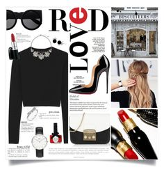 Mad about Red by laurettered on Polyvore featuring moda, Proenza Schouler, Christian Louboutin, Furla, Daniel Wellington, Pandora, The Limited, Bling Jewelry, Ciaté and Anja