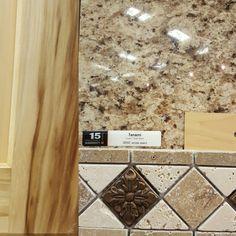 Countertops for bathrooms~mhi. Hickory floor, tanami granite countertops, chiaro and noce tumbled travertine backsplash, maple cabinets. Travertine Countertops, Outdoor Kitchen Countertops, Kitchen Backsplash, Backsplash Ideas, Kitchen Worktops, Granite Backsplash, Kitchen Sinks, Hickory Kitchen Cabinets, Maple Cabinets