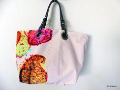 sac cabas réersible en velours beige et orange de la boutique bykarbon sur Etsy