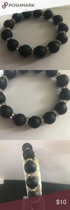 Matte black bracelet Handmade with Czech rhinestones, and black matte glass beads kraftykreps Jewelry Bracelets