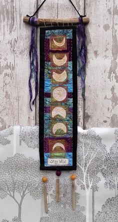 This item is unavailable Fabric Art, Fabric Crafts, Moon Phases Art, Pagan Decor, Art Projects, Sewing Projects, Wiccan Crafts, Free Motion Embroidery, Prayer Flags