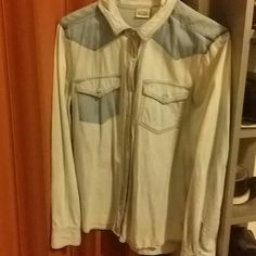 Acid wash button up Missing a button Size M Open to offers Tops Button Down Shirts