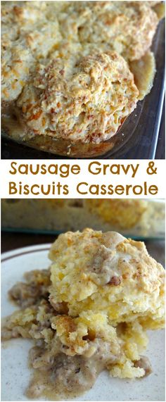 The Cooking Actress: Sausage Gravy & Biscuits Casserole. A super easy and delicious entree recipe that's great for breakfast, lunch, or dinner!