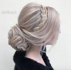 Low chignon and headband braid by Elstilespb