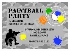 Paintball Party Invitation Template Free Unique Paintball Party Invitations - Real Time - Diet, Exercise, Fitness, Finance You for Healthy articles ideas Paintball Birthday Party, 10th Birthday Parties, Paintball Cake, Zombie Birthday, Birthday Ideas, Birthday Party Invitation Wording, Free Printable Birthday Invitations, Invitation Templates, Ale