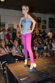 Madeline Haenel Denim Corset with Fuchsia Leggings, Denver Paint the Runway