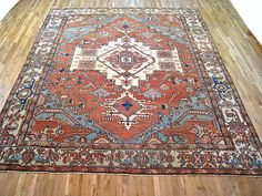"Persian: Geometric 11' 4"" x 9' 10"" Antique Serapi at Persian Gallery New York - Antique Decorative Carpets & Period Tapestries"