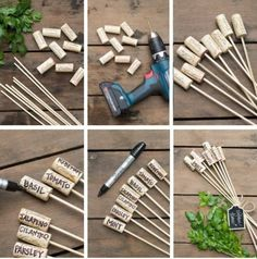 Wine Cork Garden Markers Very Easy Veggie Garden Indoor Garden, Outdoor Gardens, Diy Jardim, Diy Projects For Beginners, Gardening, Small Gardens, Little Gardens, Growing Plants, Permaculture