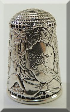 Sterling Silver Thimble Christmas