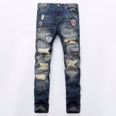 859109d2ca21 28.88$ Watch now - 2017 Spring Fashion Mens Jeans Brand Designer Hole Badge  Slim Cotton Straight Denim Trousers Luxury Classic Ripped Jeans For Men #  ...