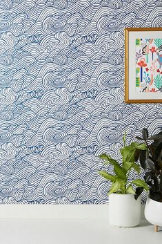Mare Wave Wallpaper by Anthropologie in Grey, Wall Waves Wallpaper, Of Wallpaper, Glitter Wallpaper, Wallpaper Ideas, Magnolia Wallpaper, Accent Wallpaper, Painted Wallpaper, Chinoiserie Wallpaper, Friends Wallpaper