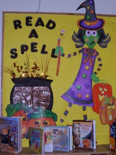 "halloween bulletin board for an October library display ""read a spell"""