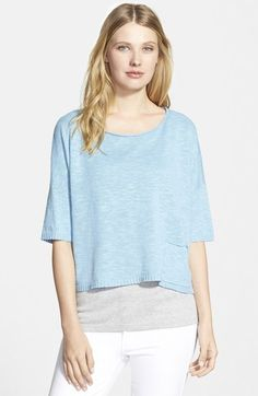 Eileen Fisher Bateau Neck Slub Linen & Cotton Sweater (Regular & Petite) available at #Nordstrom