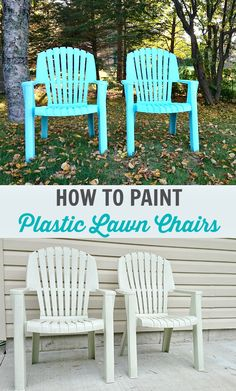 How to Spray Paint Plastic Lawn Chairs - Tips + Tricks and What Paint to Use. Save Money on Outdoor Decor and Refresh Old Patio Furniture. lawn chairs How to Spray Paint Plastic Lawn Chairs Painting Plastic Chairs, Used Outdoor Furniture, Plastic Patio Furniture, Painted Patio, Plastic Furniture, Lawn Chairs, Painting Patio Furniture, Painting Plastic, Diy Outdoor Furniture