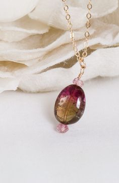 Sweetheart – Tourmaline Nugget with Pink Topaz Necklace