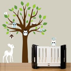 Childrens woodland forest wall decal tree and animals set - Nursery tree wall stickers. $114.00, via Etsy.