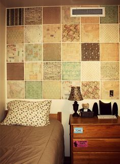 Scrapbook paper to decorate dorm room walls