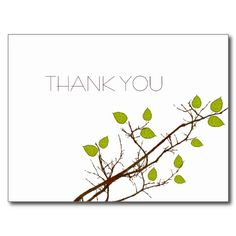 Thank you Postcard with Lime Green Leaves