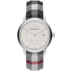 Burberry Round Stainless Steel Watch ($556) ❤ liked on Polyvore featuring jewelry, watches, accessories, leather-strap watches, burberry, stainless steel wrist watch, burberry jewelry and stainless steel jewelry