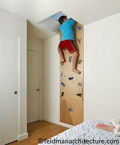 Idées déco chambre enfant - mur d'escalade #Deco #DIY