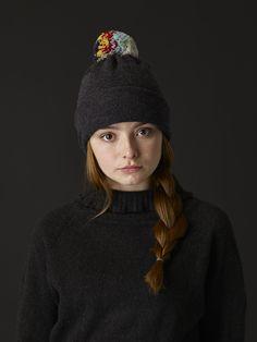 Shaggy Pompom Hat - Charcoal