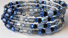 New jewelry - unique, handmade bead memory wire bracelet! Blue and Gray Memory Wire Bracelet by VineDesignBeads on Etsy, $16.00