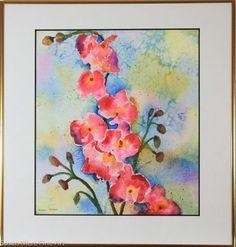 Original Watercolor by Susan Marie Fairclough, blossoms, Framed 19X18