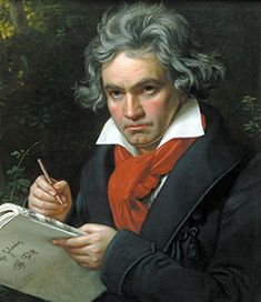 """Ludwig van Beethoven. Last words(Of which there are many disputed different ones.): """"Plaudite, amici, comedia finita est.""""(The traditional ending to a commedia dell'arte.) -- """"There, do you hear the bell? Don't you hear it ringing? The curtain must drop. Yes! My curtain is falling."""" -- """"I shall hear in Heaven."""" (that made me want to cry.)"""