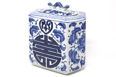 Hexagonal Blue and White Ceramic Happiness Jar